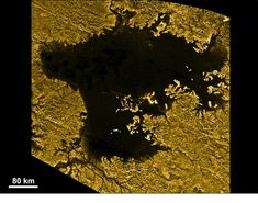 Is there anywhere in the solar system that we know you could go for a nice dip? Saturn's hazy moon Titan is one. The frozen world is too far from the sun to have liquid water on its surface. But temperatures are just right for hydrocarbons like methane and ethane to flow, creating enormous seas like this one, Ligeia Mare.