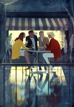 The After Movie debate. The After Movie debate. Character Illustration, Illustration Art, Friends Illustration, Pascal Campion, Street Art, After Movie, Cultura Pop, American Artists, Amazing Art