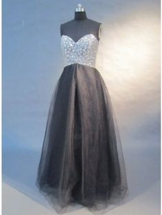 Affordable black sweetheart A-line long prom dress