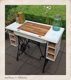 This would be a great idea for a vintage, non-functioning sewing machine that I inherited! I'm not sure what would be done with the sewing machine inside of it however. Sewing Machine Tables, Treadle Sewing Machines, Antique Sewing Machines, Sewing Table, Furniture Makeover, Diy Furniture, Refinished Furniture, Sewing Cabinet, Recycled Furniture