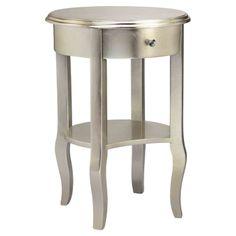 Metallic Silver End Table.