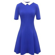 Aphratti Women's Short Sleeve Casual Peter Pan Collar Flare Dress ($23) ❤ liked on Polyvore featuring dresses, flare dress, blue short sleeve dress, flared dresses, short-sleeve dresses and peter pan dress