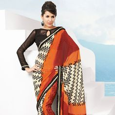 Rust, Maroon and Off White Faux Chiffon Saree with Blouse