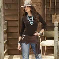 Elkhide Fringed Wrap Belt by Deborah Shamah of Rendezvous West from Crow's Nest Trading