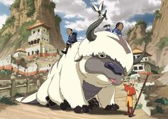 Appa, the flying bison,  and Momo, the lemur, (with Aang, Katara and Sokka) in Avatar: The Last Airbender