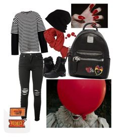 it - a coisa conjunto preto, branco e vermelho. it - the thing look grunge black, white and red. by waspfactory on Polyvore featuring polyvore AMIRI Blondo MCM Kreepsville 666 Bling Jewelry Faliero Sarti SCHA Juun.j fashion style clothing