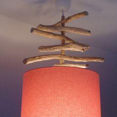 Lustre slow deco suspension plafonnier en bois flotté lin 28