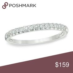 "Genuine Diamond Engagement 10 Kt White Gold Brand New. Solid Gold Band with 10 K Stamp. 4.5 gm weight. 0.06"" width. Available sizes 6, 7, 8.  Certified 13 Diamonds. Dimensions; 0.79""x0.06""x0.83"". Jewelry Rings"