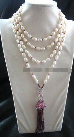 "free shipping N3263 freshwater pearl &garnet leopard necklace 70"" nature N Discount #Affiliate"