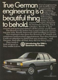 1986 1/2 Volkswagen Quantum GL Sedan Automobile by VintageAdOrama, $9.99