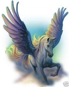 Pegasus Horse HEAT PRESS TRANSFER for T Shirt Sweatshirt Tote Quilt Fabric 249b
