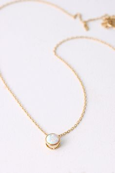 Tiny Gold White Opal Necklace sterling Silver from kellinsilver.com