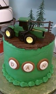 John Deere Cake  Not the most creative one on the web, but the name and the tractor make it perfect for The Farmer!