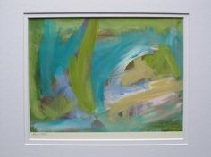 Abstract painting on paper no.82 by Kerry Steele double matted for 11x14 frame