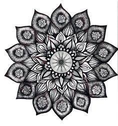 flowers fantasy art black and white   Mandala by Marisuccubus