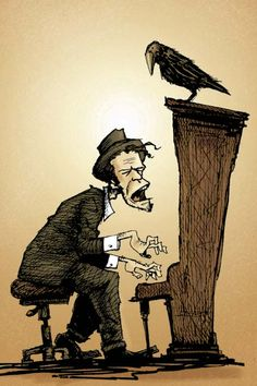 Tom Waits drawing (Love Love Love Tom Waits...and crows! What an awesome pin! :)