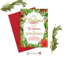 Christmas Party Invitation Printable Holiday by SweetTeaAndACactus