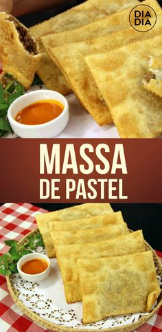 Massa de Pastel Empanadas, Tapas, Good Food, Yummy Food, Menu, Pasta, Food Goals, Sweet And Salty, Party Snacks