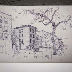 """Corner of Eagle Street and Manhattan Ave in Greenpoint, Brooklyn. #sketchbook #sketch #drawing #illustration #penandink #ballpoint #artwork #moleskine…"""