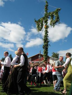Dancing around the Maistang (Midsummer pole) is an important part of Midsommer festivities in Scandinavia. This picture is from our celebration in Poulsbo, WA.