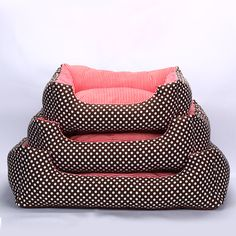 Removable Washable Pet Mat Dot Bed Winter Warm Striped Pet Dog Kennel Mat Waterproof Dog&Cat Bed Thickened House