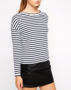 Long sleeved striped t-shirt. Styled with a denim pinafore dress or denim skirt would look perfect