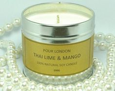Free UK Shipping! Pour London Thai Lime and Mango eco soy wax scented candle