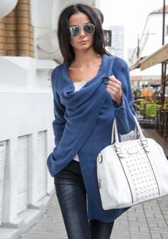 Women Cardigan Lapel Sweater Knit Coat !