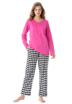 """Bright color and pattern make this cozy plus size pj set fun to wear. The top is softest jersey, pants warm flannel.TOP  relaxed silhouette 28"""" length keeps you warm down to below the hips banded V-neckline long roomy sleeves with armholes designed for ease  PANTS  Easy pull-on style with straight leg and contrast elastic waist with drawstring 28"""" inseam inseam fits most women 5'4""""-5'7"""" side seam pockets soft, washable cotton jersey knit top, woven cotton flannel bottom imported  Women's…"""