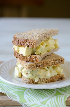 Classic Egg Salad Sandwich (Includes a bit of finely chopped celery and red onion in addition to some lemon juice alongside the Dijon mustard and mayo...hmmm, good!)