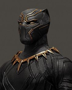 Panther Portrait 3/3 Rendering a touch of gold for T'Challa's MCU suit. #BlackPanther #MarvelMonday