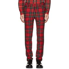 Burberry Men's Plaid Wool Slim Trousers (€405) ❤ liked on Polyvore featuring men's fashion, men's clothing, men's pants, men's dress pants, red, men's 5 pocket pants, mens slim fit pants, mens zip off pants, mens pants and mens tartan pants