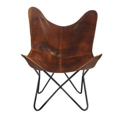 Brown Accent Chair, Leather Butterfly Chair, Outside Furniture, Striped Canvas, Take A Seat, Folding Chair, Leather Cover, Canvas Leather, Living Room Chairs