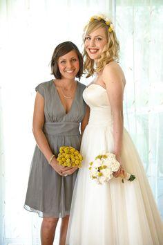 Grey chiffon maids dress (J. Crew) + tea length wedding dress (Priscilla of Boston)