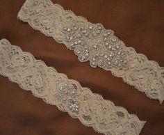 Elegant Wedding Garters | Rhinestone Wedding Garter Set, Elegant Ivory or White Stretch Lace ...