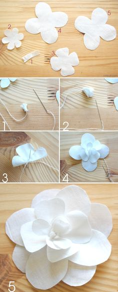 Chanel is irresistible. So, here's how to make your own fabric camellia flower.Tips For fabric scraps Giant Paper Flowers, Felt Flowers, Diy Flowers, Fabric Flowers, Zipper Flowers, Flower Diy, Camelia Chanel, Chanel Flower, Ribbon Flower Tutorial