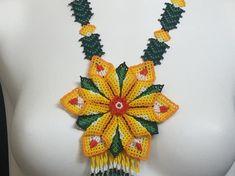 Huichol Handmade Necklace BigYellow Flower beaded flower | Etsy Beaded Flowers, Hippy, Handmade Necklaces, Crochet Necklace, Artisan, Etsy, Beautiful, Jewelry, Handmade Gifts