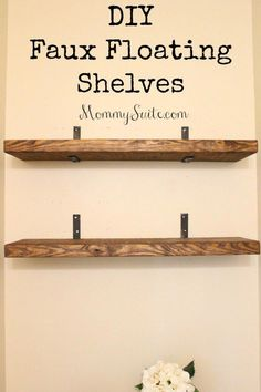 I love how much character these shelves bring to my small bathroom. This is an easy, inexpensive weekend DIY project. # DIY Home Decor inexpensive DIY Faux Floating Shelves - Mommy Suite Diy Bathroom Storage, Wood Diy, Floating, Shelves, Diy Wall, Bedroom Diy, Diy Kitchen, Diy Shelves Easy, Floating Shelves Diy