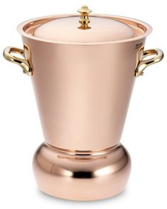 More than simply beautiful, this conical copper vessel is both an efficient steamer for potatoes and other vegetables as well as a striking serving piece. The design is ingenious – water boils quickly in the narrow rounded base, while the un… Copper Pot Set, Copper Vessel, Copper Rose, Rose Gold, Copper Blush, Copper Cleaner, Copper Pans, Kitchen Items, Kitchen Gadgets