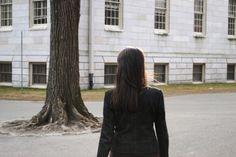 Anne-Sophie walking around Harvard