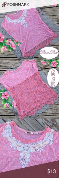 Miss Me Crochet Coral Top 🌷 Classic coral pink top with shell embellishments on the top and lace back. Worn once. This is in great condition! Miss Me Tops