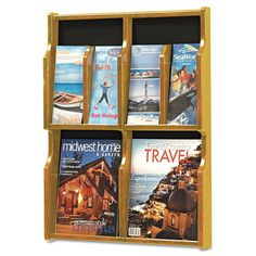 "Safco SAF5704MO Expose Adj Magazine/Pamphlet 4-Pocket Display 20""w x 2-1/2""d x 2 Medium Oak Office Furniture Literature Display Cases Magazine Racks"