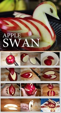 Apple Cutting Hack - 5 Apple Cut Tutorials Apple Cutting Hack - 5 Apple Cut Tutorials <br> These ideas of serving apples will surely catch your guests eyes, even little ones. Swan layout Crab layout ---- More DIY Ideas ---- puzzle Hello Kitty Rabbit L'art Du Fruit, Deco Fruit, Fruit Art, Fruit Cakes, Fruit Decorations, Food Decoration, Apple Swan, Apple Cut, Fruit Creations