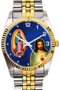 Swanson Classic Acier et Doré Jésus & Marie Gold Watch, Rolex Watches, Bracelet Watch, My Style, Classic, Exhibitions, Accessories, Steel, Objects
