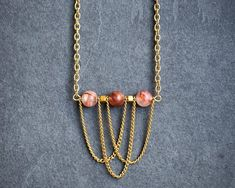 Blood Quartz on Gold Tone Chain Necklace / Gemstone Bar Necklace / Layering Necklace / Feminine Necklace / Gift for Her