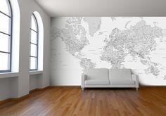 Black and White World Map Wallpaper by Watts London | Design By Watts London | StuckUp!