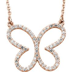 """14K Rose Gold (also available in white gold and yellow gold) 1/3 CTW Diamond Butterfly 16"""" Necklace #butterflynecklace #butterflypendant #diamondbutterflynecklace #diamondbutterfly #mystullerstyle page 109 st66437"""