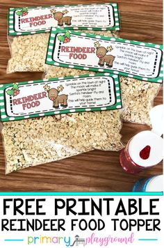 Free Printable Reindeer Food Bag Topper – Primary Playground Need an easy idea for your holiday party? Have your students make reindeer food! A super easy and quick activity to do with your kiddos. Get all of the details and… Continue Reading → Halloween Party Snacks, Christmas Party Food, Preschool Christmas, Christmas Crafts For Kids, Holiday Parties, Christmas Fun, Holiday Fun, Festive, Parties Kids