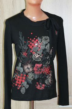 93a66264c KENZO Women's Tops Long Sleeve Black Printed Floral Embroidered Size S # KENZO #Skinny #