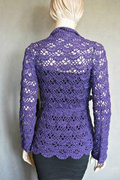 Purple Cardigan Boho Cardigan Crochet Cardigan by CasadeAngela